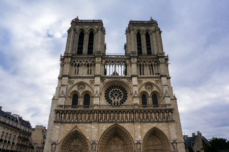 The Notre Dame Cathedral of Paris, France. The front view shot in October 2016 Stock Photo