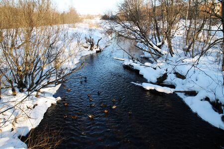Winter river with dark water. snow bank. duck Stock Photo - 18198378