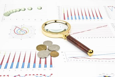 solver: Business still-life of a diagram, magnifier, coins