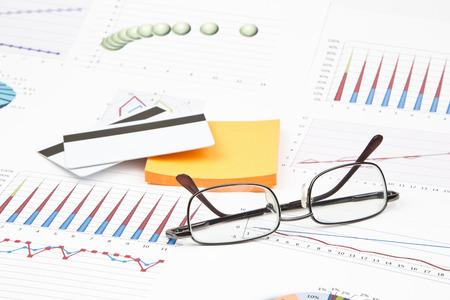 Business still-life of a credit cards, sticker, eyeglasses