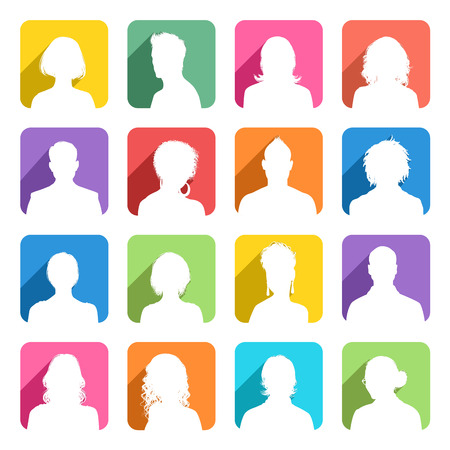 back lit: A collection of 16 high detail avatars White silhouettes On colorful Shaded Backgrounds. Illustration