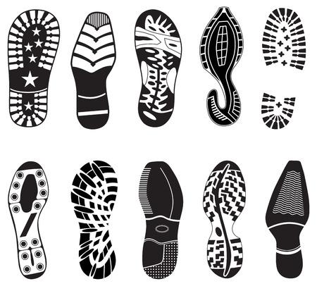 botas: Colección de diez Ilustración vectorial de diferentes temas de zapato