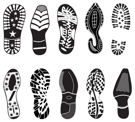 footmark: Collection of ten different Vector illustration of Shoe Tracks