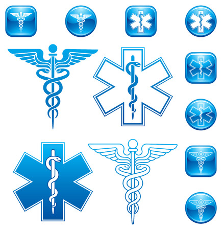 caduceus medical symbol: Vector Set of illustrations For Caduceus and Asclepius Staff icons and logos. Illustration
