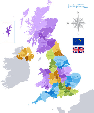 High Detail Colorful vector Map of United Kingdom Regions, Administrative divisions and major cities. All elements are separated in editable layers clearly labeled as shown in the image. Vectores