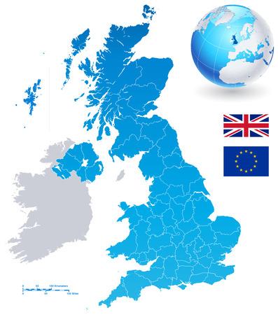 高詳細カラフルなベクトル地図のイギリスの地域、行政区分と主要都市も英国を中心とした 3 D 地球儀。 すべての要素が明確にラベル付け、図のよ