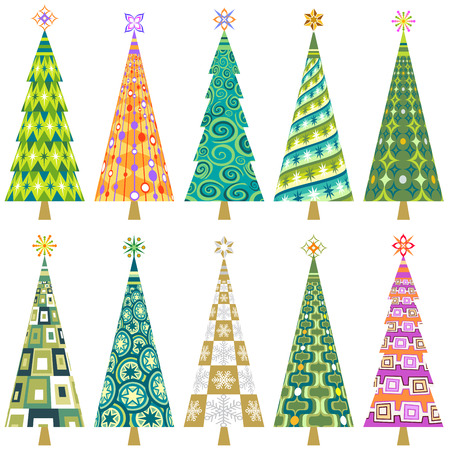 A set of ten decorative Retro Style Christmas patterned trees.