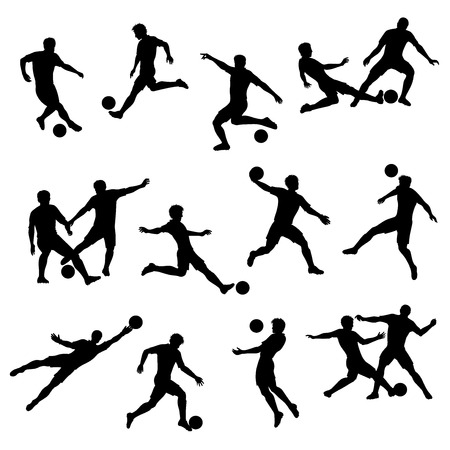 tackling: Collection of high detail adult male soccer player vector silhouettes.