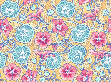 nasturtium: This floral illustration is inspired by a pattern found in an old 1800 book. Great for wrapping paper, backgrounds, wall paper and so on. Illustration