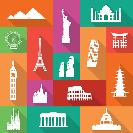 Famous monuments icons with long flat shadows. Vector