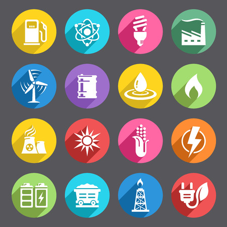 A vector icon set with 16 Energy production/saving/Environment themed iconsVector file is EPS v8, no transparency or meshes used. All Icons are layered and properly labeled.Ai CS5, Hi res transparent PNG (5000x5000) and Hi res layered and transparent P Stock Illustratie