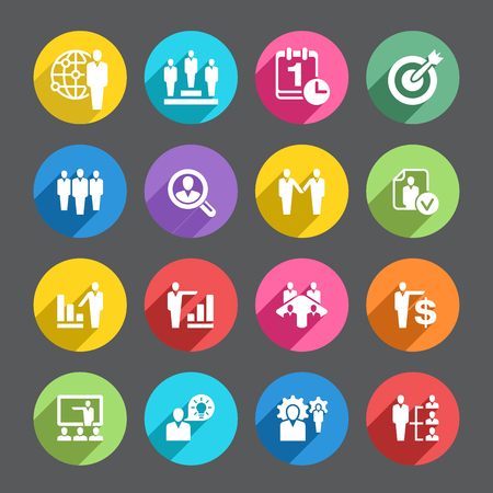 one on one meeting: A set of 16 human resources related icons.  Vector File is EPS v.10 Included in the download are a high resolution transparent(5000x5000px) layered PSD file, high Resolution transparent PNG and a vector CS5 ai file.   If you are searching for ispiration f Illustration