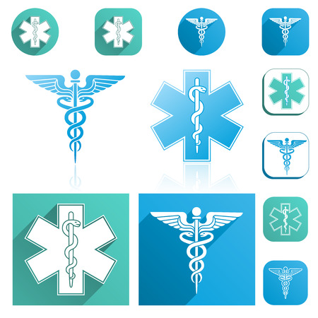 pole: A Caduceus and Esculapius Staff Icons Set with modern colors.
