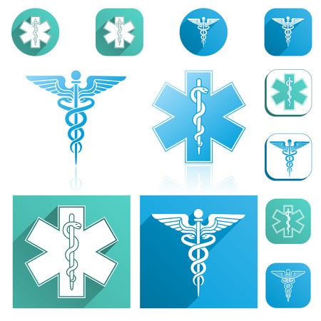 esculapio: Un caduceo y Esculapio Personal de conjunto de iconos con colores modernos. Vectores