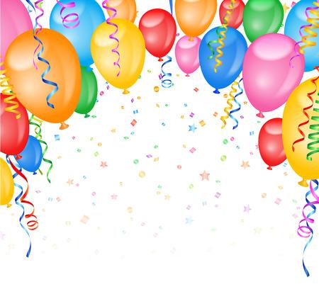 Ilustración vectorial Marco partido con los globos y confeti. Espacio en blanco en la parte inferior de la imagen.