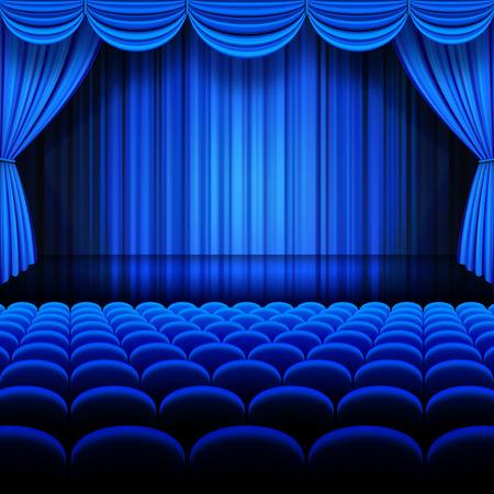 telon de teatro: A ilustraciones vectoriales de un Teatro escenario con azul lleno Cortinas de la etapa.