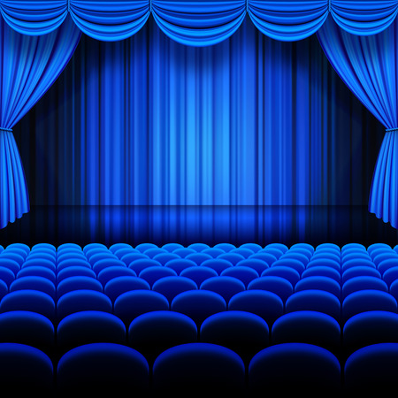 performing: A vector illustrations of a Theater stage with Blue Full Stage Curtains.
