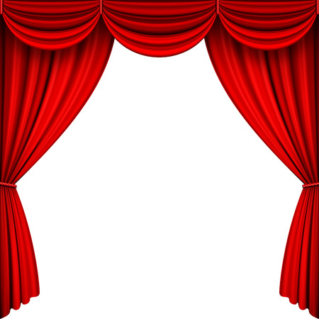 performing: A vector illustrations of Red Full Stage Curtains.