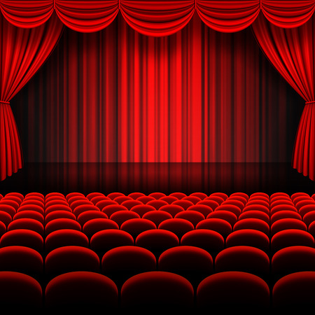 A vector illustrations of a Theater stage with red Full Stage Curtains Stock Illustratie
