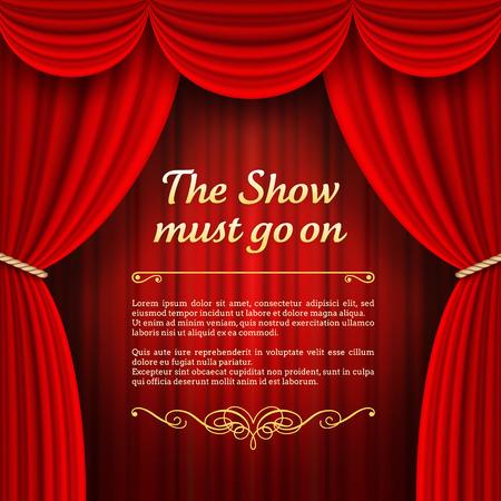 teatro: A ilustraciones vectoriales de una etapa del teatro con las cortinas rojas de la etapa completa