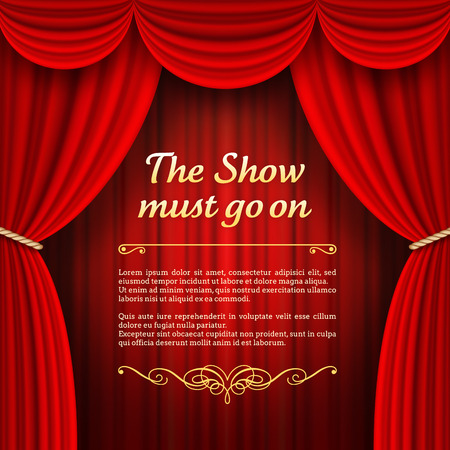 A vector illustrations of a Theater stage with red Full Stage Curtains Çizim