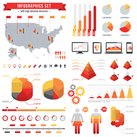 A comprehensive Vector Template set for infographics. Vector