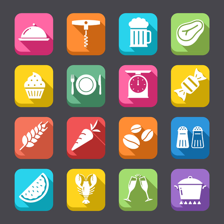 aperitif: A collection of funny Icons regarding all type of foods and drinks, with a Flat icon look