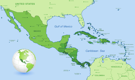 midsection: High detail map of Central america, with a 3D Globe centered on these countries.
