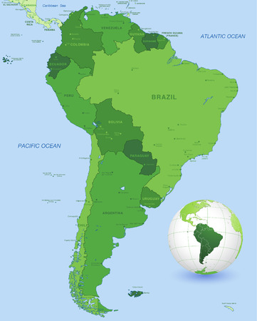 physical geography: High detail vector map of the South America Continent, with a 3D Globe centered on South America.