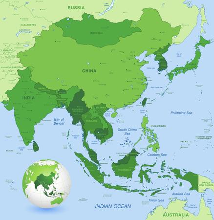 far east: Alta correspondencia detallada de Asia Lejano Oriente con un globo 3D centrado en estos países Vectores