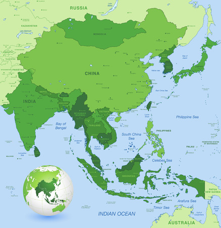 south east: High detail map of far east Asia with a 3D Globe centered on these countries Illustration
