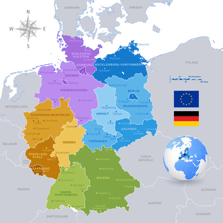 physical geography: A High Detail vector Map of Germany States and major cities, with a 3D Globe centered on Germany and both Eu and Germany flags. Illustration