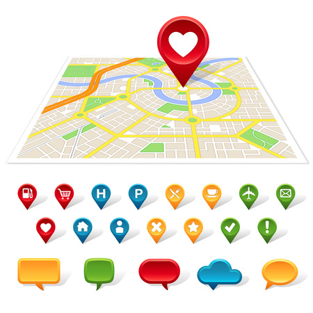 A generic map of a city is on a white background with colorful place icons and speech bubbles below it.