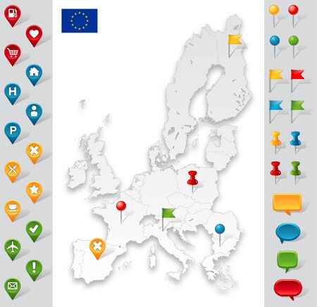 straight pin: Updated Version of the high detail map of the European Union, with the EU flag and a full set of markers for every need.