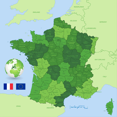 A Green High Detail vector Map of France with administrative divisions and major cities, with a 3D Globe centered on France and both Eu and France flags.