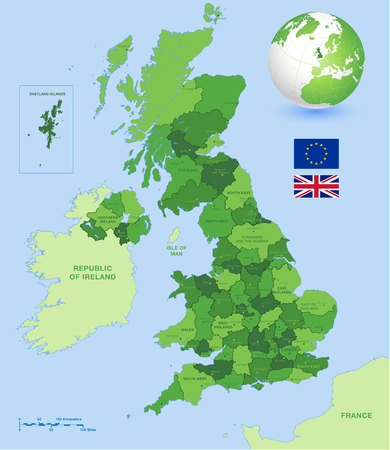england map: A High Detail vector Map of United Kingdom Regions, Administrative Regions and major cities and a vector globe with UK highlighted. Illustration
