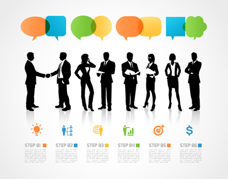 woman shadow: Hi quality Silhouettes of Businessmen and Businesswomen with infographic elements. Illustration