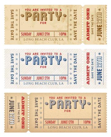 biglietto: Un elevato dettaglio grunge dell'annata dell'invito modello per una festa o celebrazione.