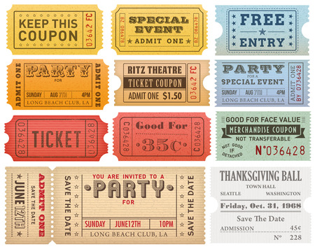 A comprehensive set of high detail Vintage grunge Tickets and Coupons, suitable for paper or web publishing. Stock Illustratie