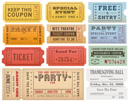 vintage: Un ensemble complet de détail élevé Billets et Coupons Vintage grunge, appropriés pour le papier ou la publication Web.