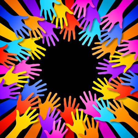 arms outstretched: A frame composed by colorful hands silhouettes. With the download are included a PSD hi res file (with background separated on a different layer) and an AI CS5 vector file