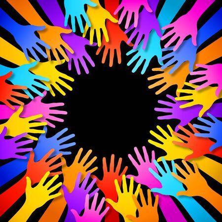 comunidad: Un marco compuesto por manos siluetas coloridas. Con la descarga se incluye un archivo PSD en alta resolución (con fondo separado en una capa diferente) y un archivo vectorial AI CS5