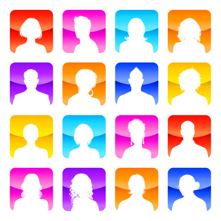 shaved head: A collection of 16 high detail avatars White silhouettes On colorful Shiny Backgrounds.