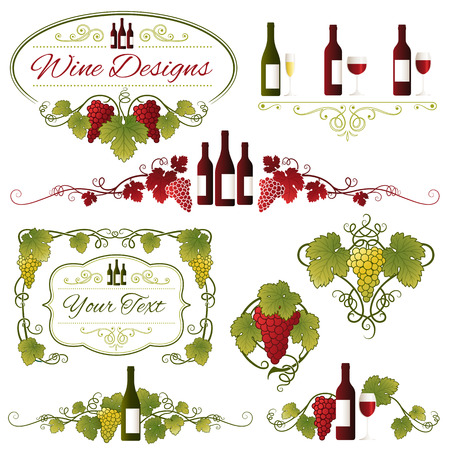 glass bottle: A set composed of eight various Grapes, Leaves and Wine ornaments Illustration