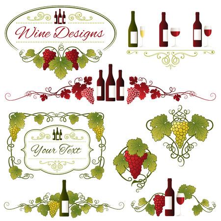 Un set composto da otto diversi uva, foglie e ornamenti di vino Vettoriali