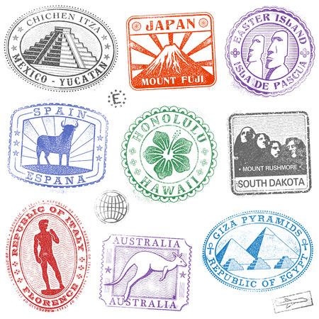 세계 각지에서 다채로운 기념물과 문화 아이콘 우표의 안녕 세부 모음