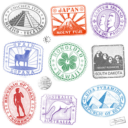 sello: Colecci�n detalle Hola de coloridas monumento y el icono de la cultura sellos de todo el mundo Vectores