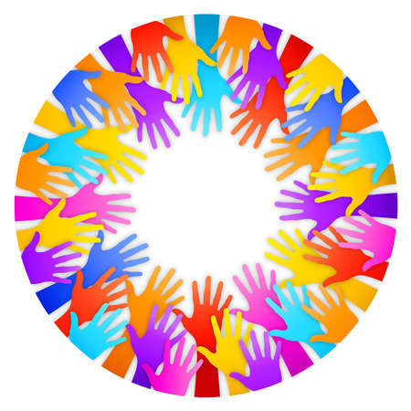 arms outstretched: A circular frame composed by colorful hands silhouettes on white background