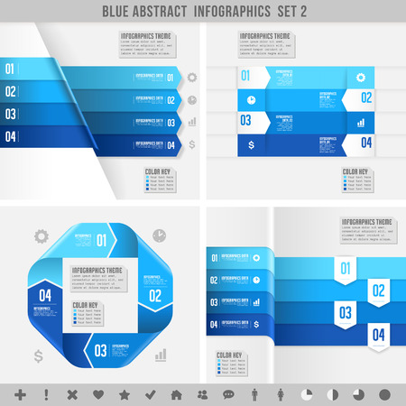 three dimensional: A Blue set for abstract overlapping infographics banners. Illustration