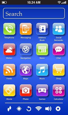 screen: A generic smartphone main screen. Illustration